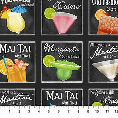 Alcoholic Drinks In Squares-Northcott Fabrics-BTY-4