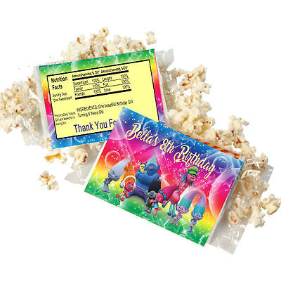 Popcorn Wrappers (20 Personalized TROLLS Microwave Popcorn Wrappers Party Favors Standard Size )