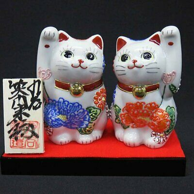 Maneki neko Kutani porcelain Japanese lucky cat Pair Manekineko Flower mum mori