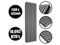 ANTHRACITE VERTICAL DOUBLE OVAL TUBED RADIATOR 1780 X 472MM, New,Boxed.!.