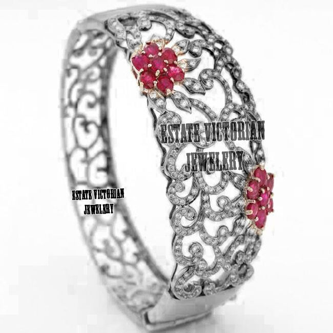 Victorian Inspired 6.07cts Rose Cut Diamond Ruby Studded Silver Bracelet Jewelry