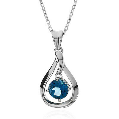 1.05 Carat Dancing Natural Blue Topaz Pendant in Sterling Silver -18""