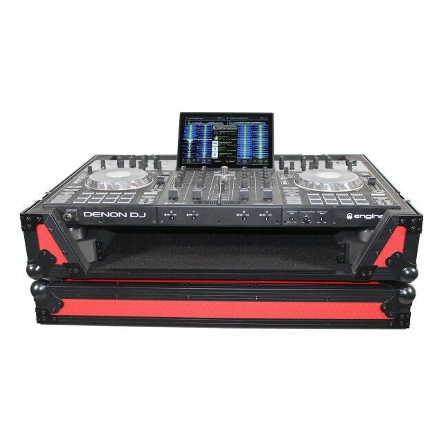Pro X Flight Case for Denon Prime 4 Standalone DJ System w/Wheels (Black on Red)