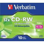 Verbatim 10x CD-RW discs 12-speed 700 MB Jewel