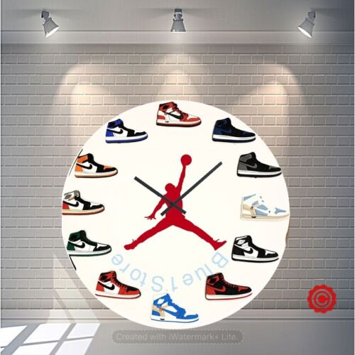 "New Handcrafted 12"" 2D Jordan 1 Sneakers clock quartz nike supreme off white yzy"