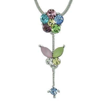 Flower Pendant Made With Swarovski Crystal Multi Color Rose Floral Necklace