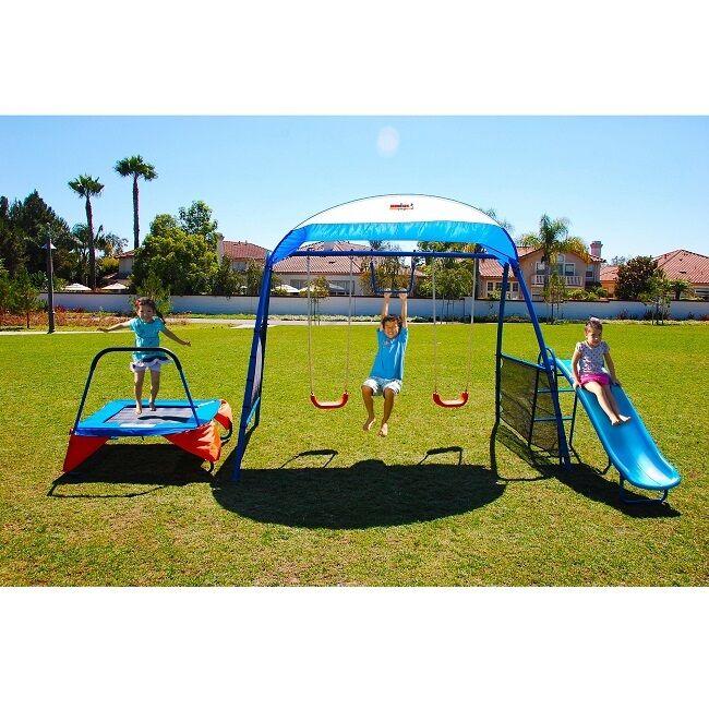 Swing set Playground Backyard Trampoline Slide Monkey Bar Ki