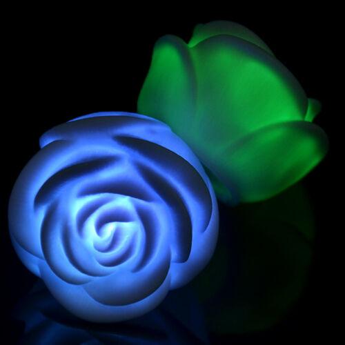 wechselnde LED schwimmende Rose Blume Kerze Nacht Licht Weihnachten