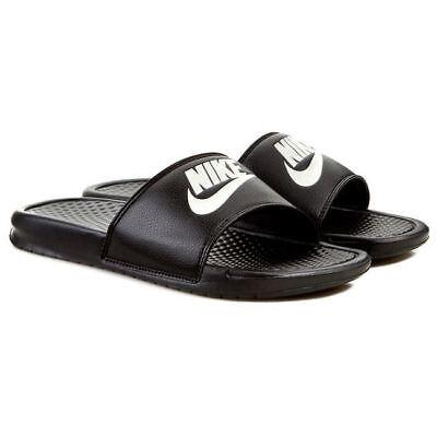 Nike Men's Benassi JDI Flip Flops Sandals Sliders Slip On's Black/White