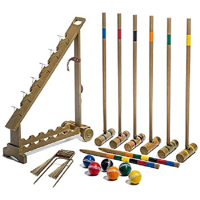 Outdoor Croquet Set,6 Player Croquet Set with Stakes,Mallets