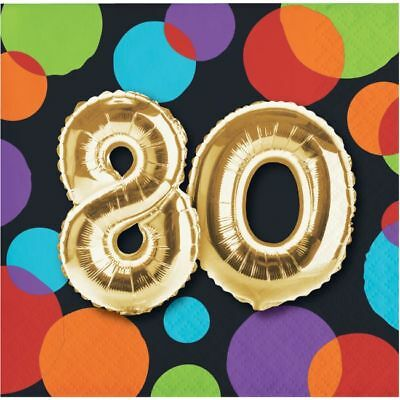 80th Birthday Napkins (Gold Balloon 80th Birthday Beverage Napkins 80th Birthday Party)