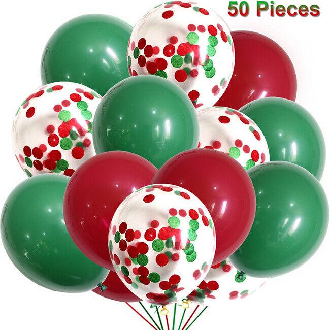 US! 50Pcs Merry Christmas Latex Confetti Balloon Birthday Party Supplies Decor