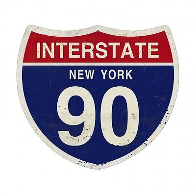 INTERSTATE 90 Metall Schild 41cm Straßenschild USA Route License Plate New York online kaufen