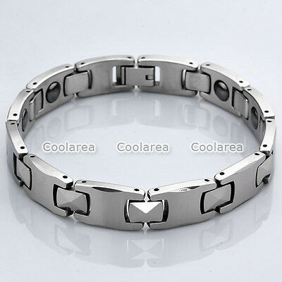 Best Energy Silvery Steel Magnetic Therapy Link Chain Bracelet Health