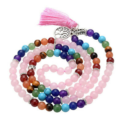 US Rose Quartz Chakra Beads Prayer Multi-layer Tassel Mala Necklace Bracelet Hot