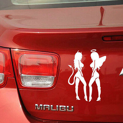 Sexy Angel Devil Mudflap Girl Car Truck Window Mirror Vinyl Decal Sticker White
