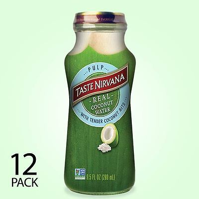 Taste Nirvana All Natural Real Coconut Water WITH PULP | 12 x 9.5oz Bottles