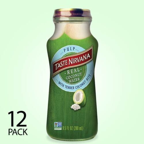 Taste Nirvana All Natural Real Coconut Water WITH PULP   12 x 9.5oz Bottles