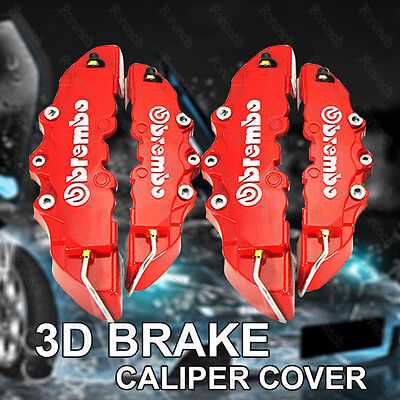 4 pcs Red 3D Brembo Style Front Rear Universal Disc Car Brake Caliper Covers