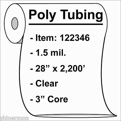 Poly Tubing Roll 28x2200 1.5 Mil Clear Heat Sealable Plastic Bag Roll 122346