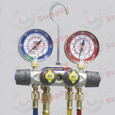 Yellow Jacket 49968 Titan 4-valve Manifold 60 Hoses Ball Valves R22404a410a