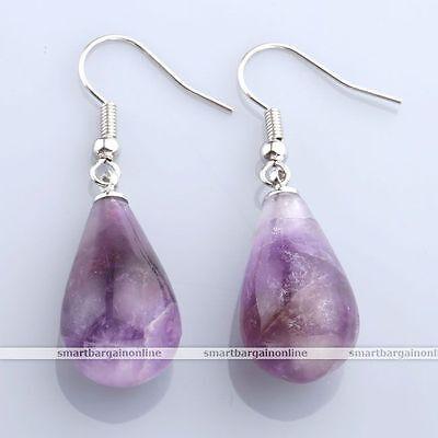 (Amethyst Teardrop Crystal Gemstone Bead Dangle Ear Drop Hook Earring Jewelry)