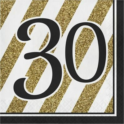 Black and Gold 30th Birthday Lunch Napkins 30th Birthday Party Decoration  - Black And Gold Napkins