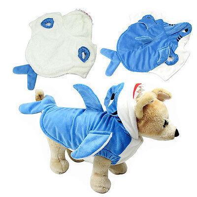 Pet Shark Costume (Pet Dog Puppy Cat Hoodie Coat Cosplay Shark Apparel Winter Warm Clothes)