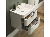 Monza 600 x 445mm Wall Hung 2 Drawer Vanity Unit with Basin