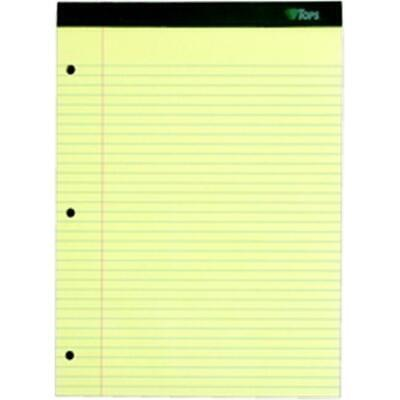 TOPS 63383 Double Docket Legal Pad college rule canary 3-hole punched 80 pt c... 3 Hole Dual Pad
