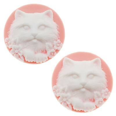 Lucite Round Cameo Pink With White Cat's Face 25mm (2 (Round Faced Cats)