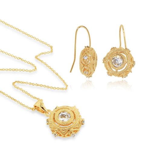 Vintage-look 18K/Bronze Necklace & Earrings Set