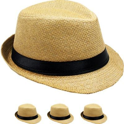 SMALL NATURAL FEDORA HAT MEN WOMEN Straw Trilby Hat 54C Gangster CHRISTMAS GIFT - Christmas Fedora
