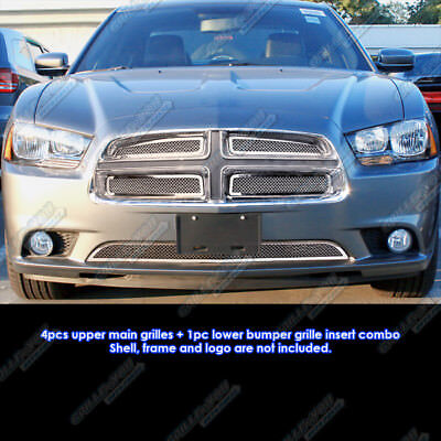 Fits 2011-2014 Dodge Charger Stainless Steel Mesh Grille Grill Insert Combo