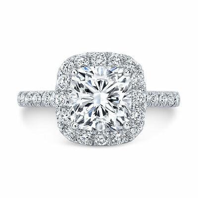 Natural 1.90 Ct Cushion Cut Halo U-Pave Diamond Engagement Ring F VS1 Platinum