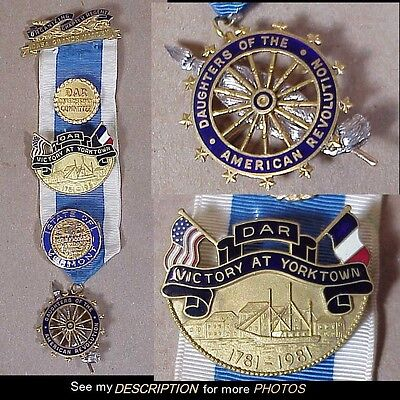 Vintage DAR Daughters of American Revolution Ribbon 5 Medals 1 14K GOLD