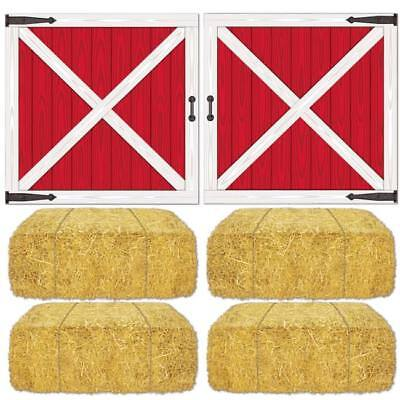 Barn Loft Door & Hay Bale Props Farm Birthday Party Decoration](Door Props)