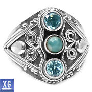 Larimar Blue Topaz Ring