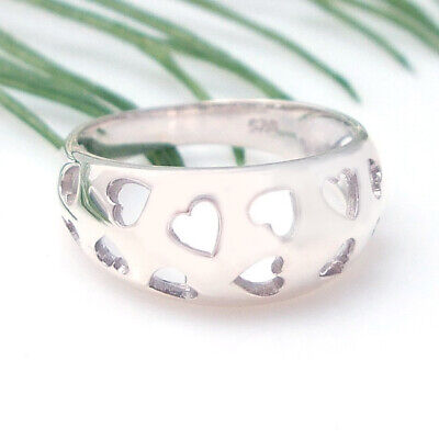 Cut-Out Cluster Heart Bunch .925 Silver Ring-6 Bunch Sterling Silver Ring