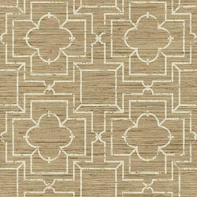 Faux Blonde and Beige Grasscloth with Cream Lattice Overlay Wallpaper GE3657