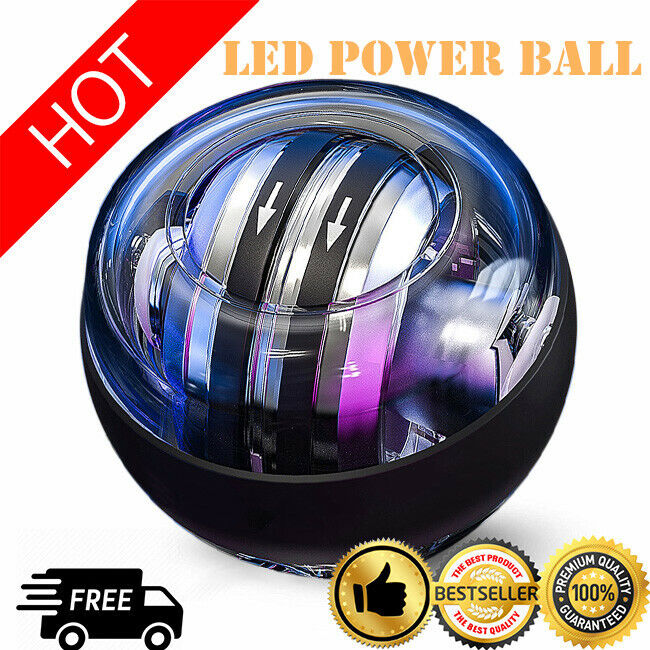 Auto-start LED Power Gyro Force Wrist Ball Arm Exerciser Relieve Pressure