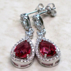 TRENDY 3 CT RUBY 925 STERLING SILVER STUD EARRINGS