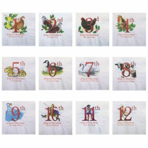 "12 Single Paper Decoupage Napkins Beverage Size 5""X5"" 12 Days of Christmas Set"