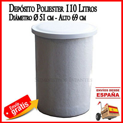 Deposit Water 100 Litres Round Cylindrical Tank L Polyester