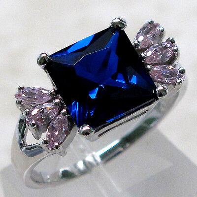 PRECIOUS 4 CT SAPPHIRE PRINCESS CUT 925 STERLING SILVER RING SIZE 5-10 Cut Precious Sapphire Ring