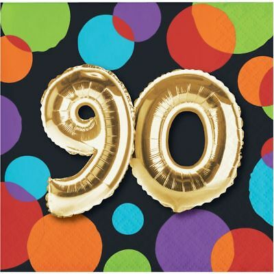 90th Birthday Party Decorations (Gold Balloon 90th Birthday Beverage Napkins 90 Birthday Party)