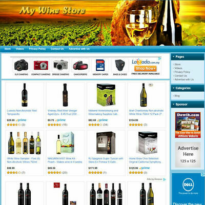 Wine Store Fully Functional Ecommerce Affiliate Website For Sale - Free Domain