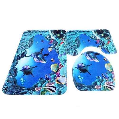 Non Slip Dolphin Bath Mat with Padestal Door Mat Set 16 Stunning Colours Rugs