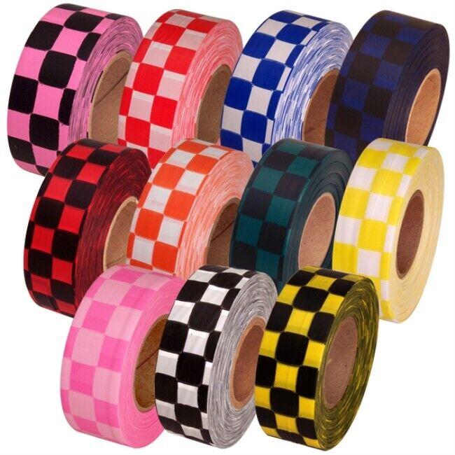 """Checkerboard Flagging Tape 1-3/16"""" Non-Adhesive Plastic Ribbon"""