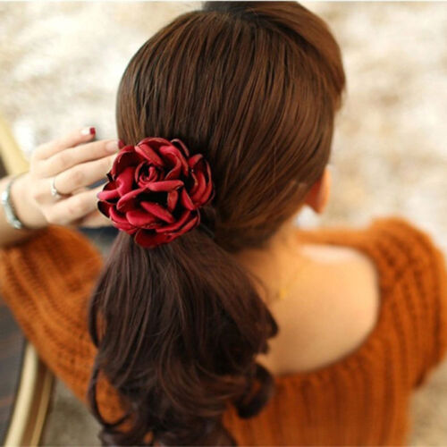 Women Scrunchies Flowers Beads Pearl Hair Band Rope Elastic Ponytail Holder New